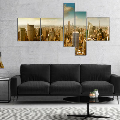 Designart Midtown And Downtown Manhattan Multipanel Modern Cityscape Canvas Art Print - 5 Panels