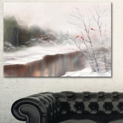 Designart Snowy Silence Landscape Art Print Canvas
