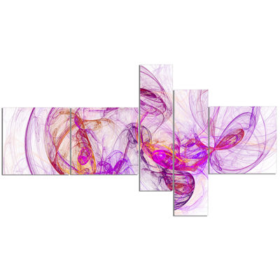 Designart Billowing Smoke Magenta Multipanel Abstract Canvas Art Print - 5 Panels