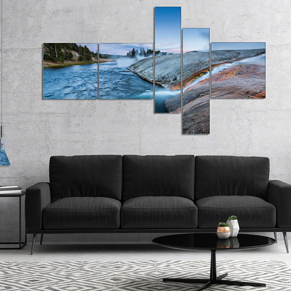 Designart Midway Geyser Basin In Yellowstone Multipanel Seashore Canvas Art Print - 5 Panels