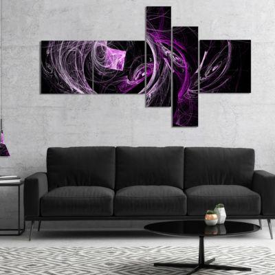 Designart Billowing Smoke Purple In Black Multipanel Abstract Canvas Art Print - 5 Panels