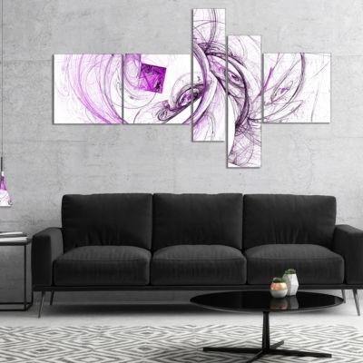 Designart Billowing Smoke Purple Multipanel Abstract Canvas Art Print - 4 Panels
