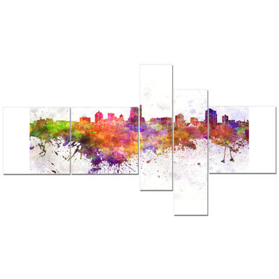 Designart Milwaukee Skyline Multipanel CityscapeCanvas Artwork Print - 5 Panels