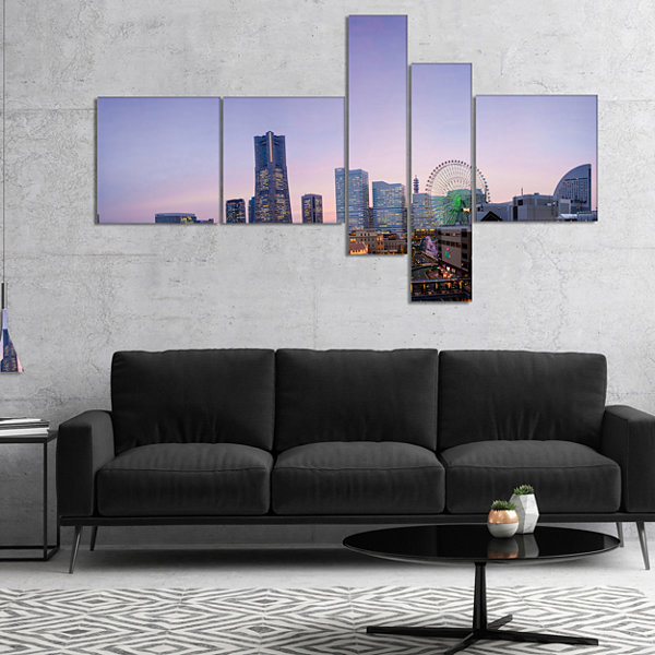 Designart Minato Mirai Yokohama At Twilight Multipanel Cityscape Canvas Art Print - 4 Panels