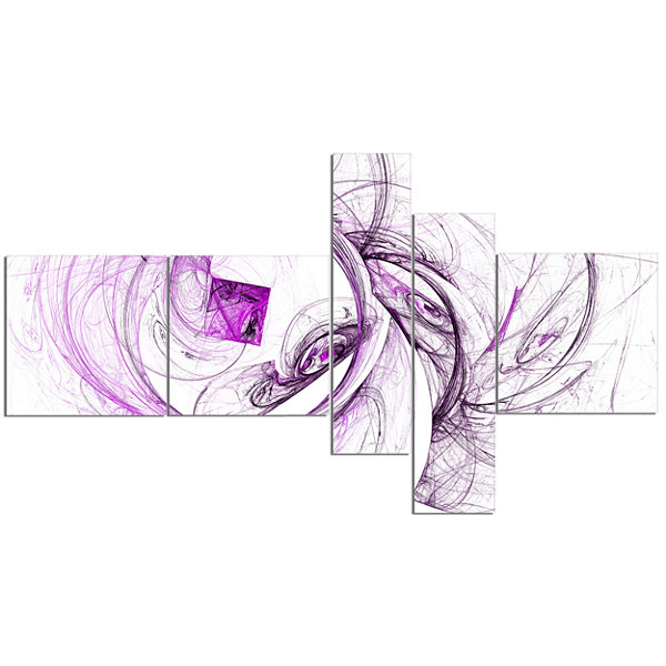Designart Billowing Smoke Purple Multipanel Abstract Canvas Art Print - 5 Panels