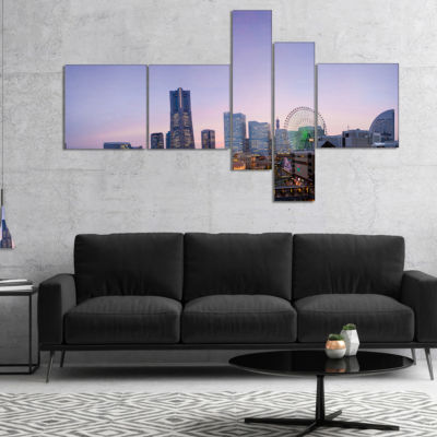 Designart Minato Mirai Yokohama At Twilight Multipanel Cityscape Canvas Art Print - 5 Panels