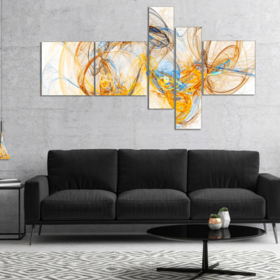 Designart Billowing Smoke Yellow Multipanel Abstract Canvas Art Print - 4 Panels