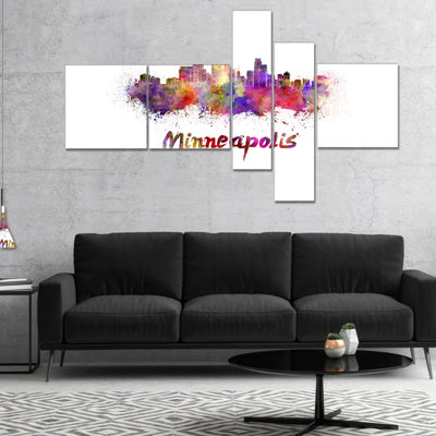 Designart Minneapolis Skyline Multipanel CityscapeCanvas Art Print - 4 Panels