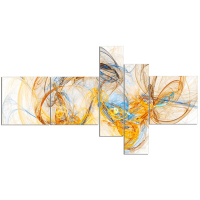 Designart Billowing Smoke Yellow Multipanel Abstract Canvas Art Print - 5 Panels