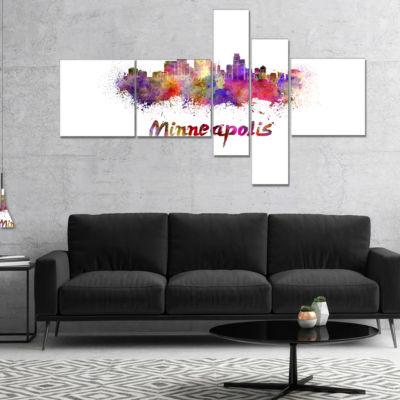 Designart Minneapolis Skyline Multipanel CityscapeCanvas Art Print - 5 Panels