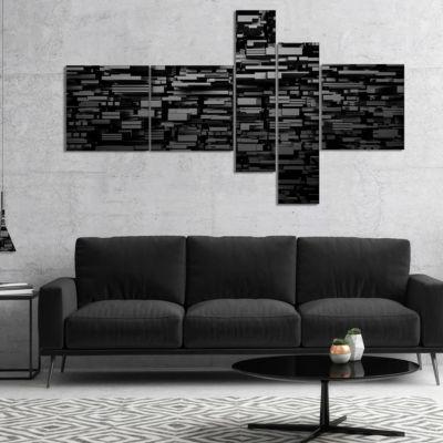 Designart Black 3D Geometric Background MultipanelAbstract Canvas Art Print - 5 Panels