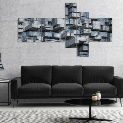 Designart Black Abstract Geometric Background Multipanel Abstract Canvas Wall Art - 5 Panels