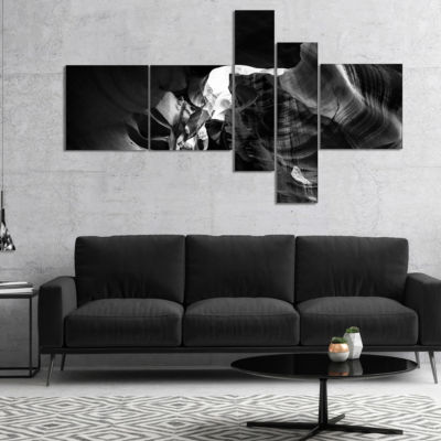 Designart Black And White Antelope Canyon Multipanel Landscape Photography Canvas Print - 4 Panels