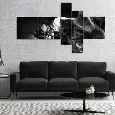 Designart Black And White Antelope Canyon Multipanel Landscape Photography Canvas Print - 5 Panels