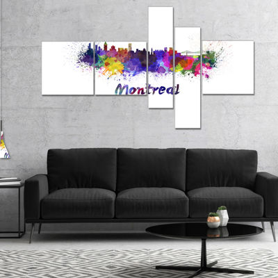 Designart Montreal Skyline Multipanel Cityscape Canvas Artwork Print - 4 Panels