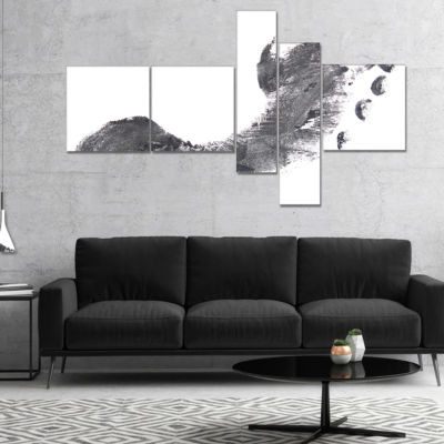 Designart Black And White Footprint Design Multipanel Portrait Canvas Art Print - 4 Panels