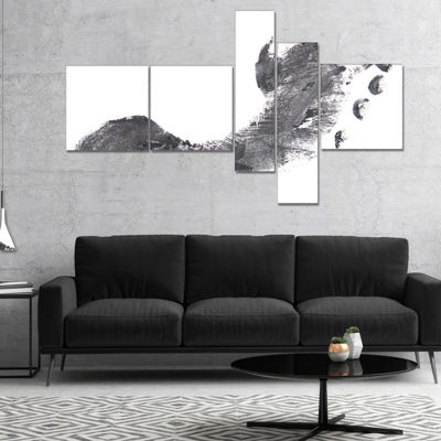 Designart Black And White Footprint Design Multipanel Portrait Canvas Art Print - 4 Panels