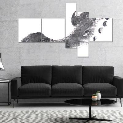 Designart Black And White Footprint Design Multipanel Portrait Canvas Art Print - 5 Panels