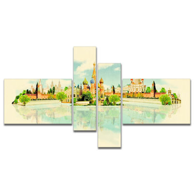 Designart Moscow Panoramic View Multipanel Cityscape Watercolor Canvas Print - 4 Panels