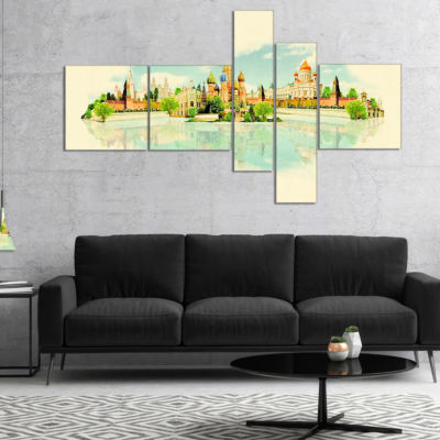 Designart Moscow Panoramic View Multipanel Cityscape Watercolor Canvas Print - 5 Panels