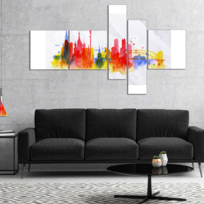 Design Art Moscow Skyline Multipanel Cityscape Canvas Artwork Print - 4 Panels