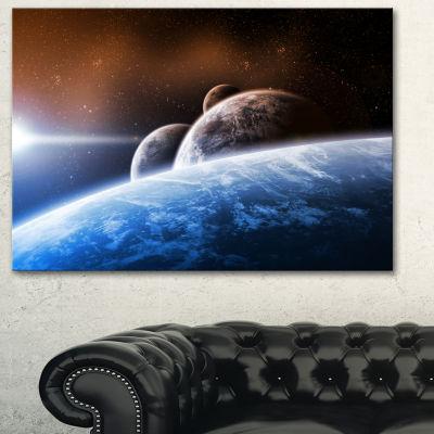 Designart Space Planet Landscape Abstract Canvas Art Print