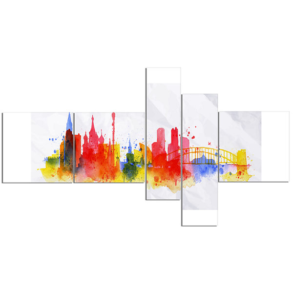 Designart Moscow Skyline Multipanel Cityscape Canvas Artwork Print - 5 Panels