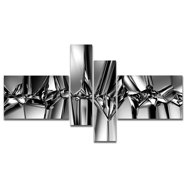 Designart Black White Crystal Background Multipanel Abstract Canvas Art Print - 4 Panels