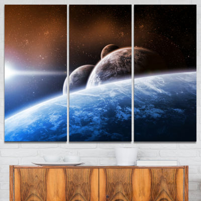 Designart Space Planet Landscape Abstract Canvas Art Print - 3 Panels