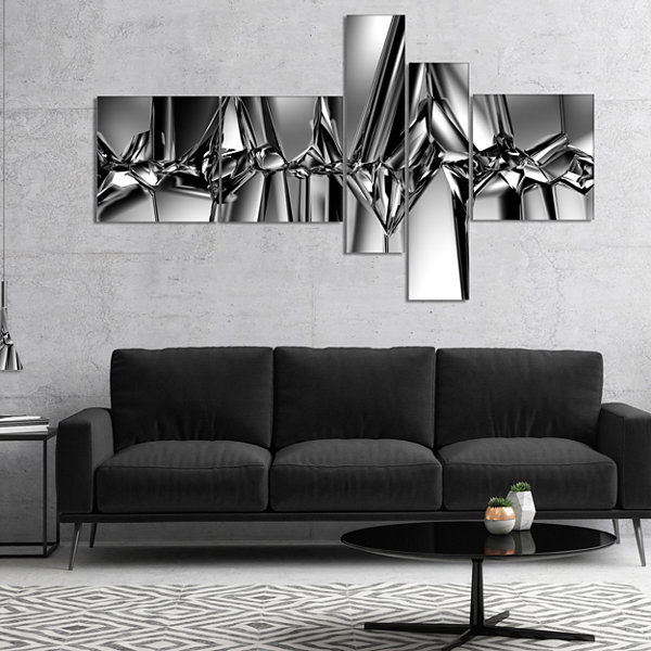 Designart Black White Crystal Background Multipanel Abstract Canvas Art Print - 5 Panels