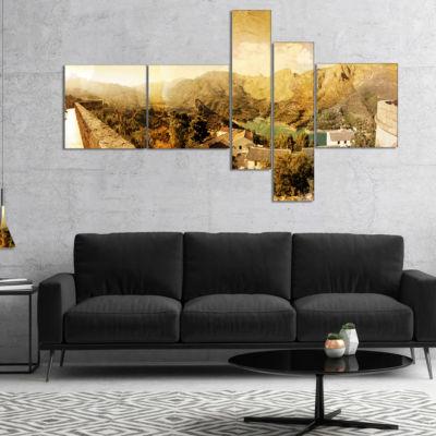 Designart Mountain And Lofty Lake Multipanel Landscape Photo Canvas Art Print - 4 Panels