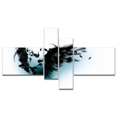 Designart Black Wings Multipanel Abstract CanvasArt Print - 4 Panels