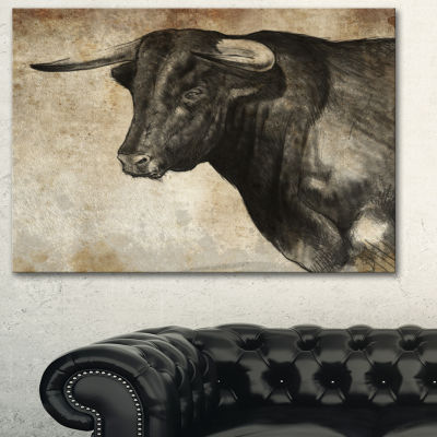 Designart Spanish Bull Sketch Animal Art On Canvas