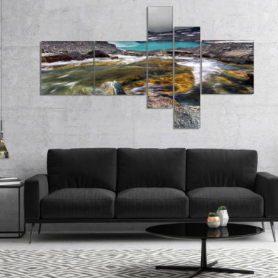 Designart Mountain Creek Flowing Into Lake Multipanel Large Landscape Canvas Art Print - 4 Panels