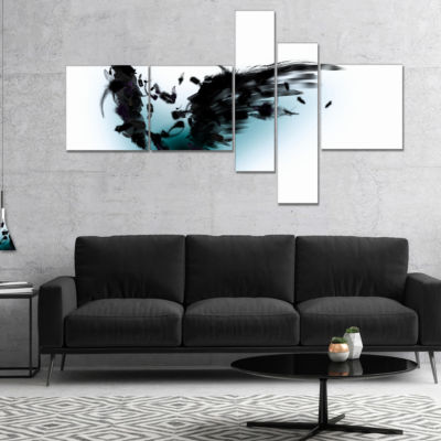 Designart Black Wings Multipanel Abstract CanvasArt Print - 5 Panels