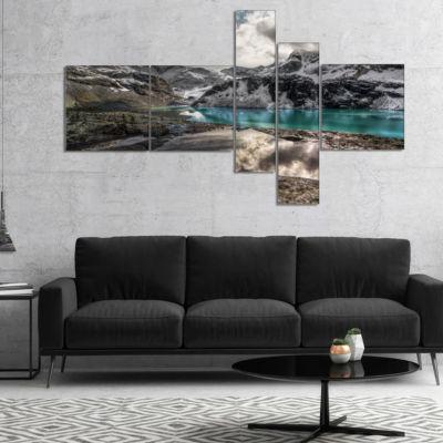 Designart Mountain Creek Under Cloudy Sky Multipanel Landscape Canvas Art Print - 5 Panels
