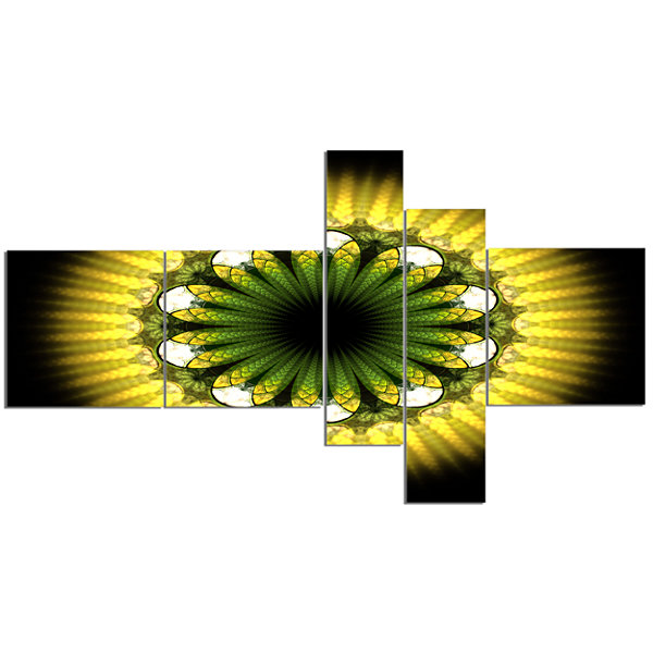 Designart Black Yellow Fractal Flower Pattern Multipanel Abstract Canvas Art Print - 5 Panels