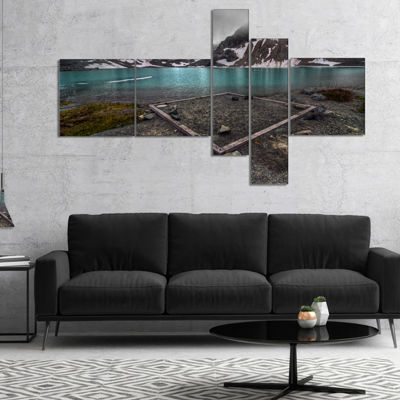 Designart Mountain Lake And Cloudy Sky MultipanelLandscape Canvas Art Print - 4 Panels