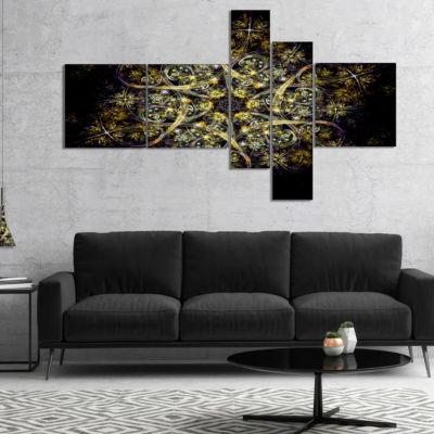 Design Art Black Yellow Fractal Flower Pattern Multipanel Abstract Wall Art Canvas - 4 Panels