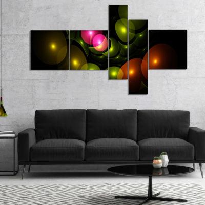 Designart Multi Color 3D Surreal Circles Multipanel Abstract Wall Art Canvas - 5 Panels