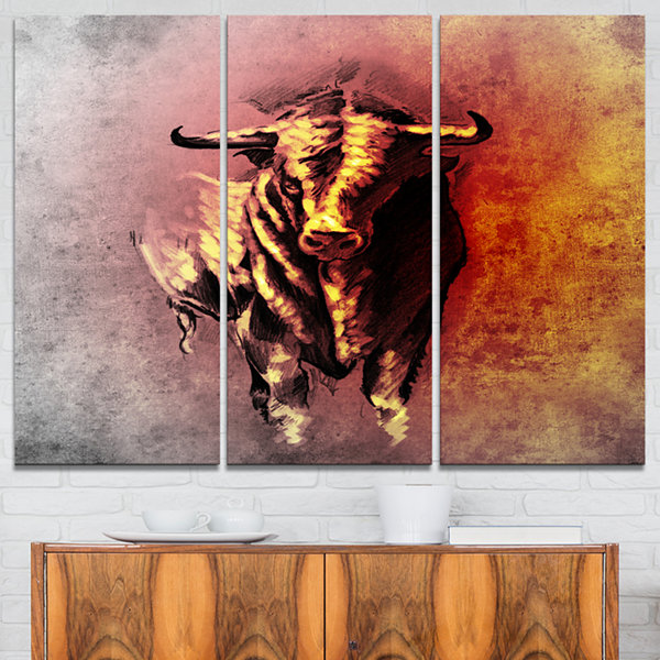 Designart Spanish Bull Tattoo Sketch Abstract Print On Canvas - 3 Panels