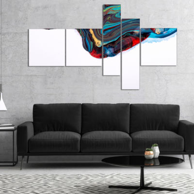 Designart Multi Color Abstract Acrylic Paint MixMultipanel Abstract Art On Canvas - 4 Panels