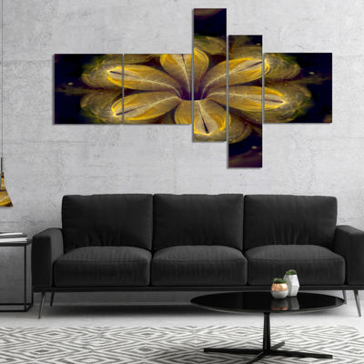 Designart Black Yellow Fractal Flower Pattern Multipanel Contemporary Canvas Art Print - 5 Panels