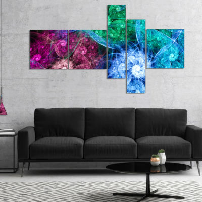 Designart Multi Color Bright Exotic Flowers Multipanel Abstract Wall Art Canvas - 5 Panels
