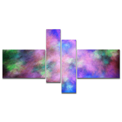 Designart Multi Color Bright Sky With Stars Multipanel Abstract Canvas Art Print - 4 Panels