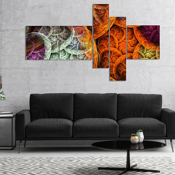Designart Multi Color Dramatic Clouds MultipanelAbstract Canvas Art Print - 5 Panels