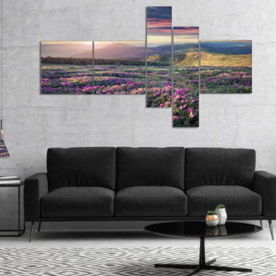 Designart Blossom Carpet Of Pink Rhododendron Multipanel Landscape Canvas Art Print - 5 Panels