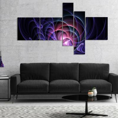 Designart Blue 3D Surreal Fractal Design Multipanel Abstract Art On Canvas - 4 Panels