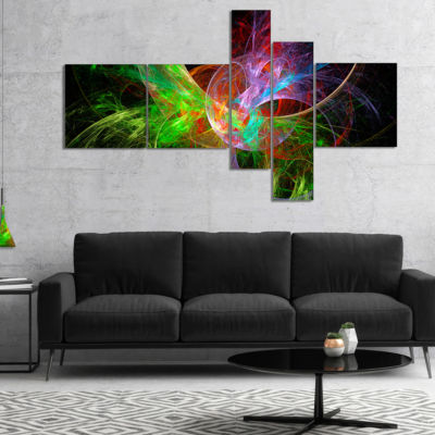 Designart Multi Color Fractal Abstract Design Multipanel Abstract Canvas Art Print - 5 Panels