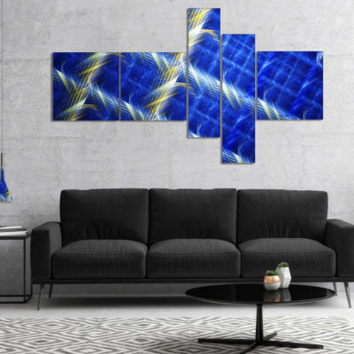 Designart Blue Abstract Metal Grill Multipanel Abstract Art On Canvas - 4 Panels